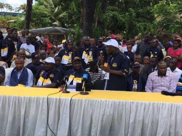 Nyali MP Hezron Awiti durign the launch of his Vibrant Democratic Party in Mombasa, April 4, 2017. /ELKANA JACOB