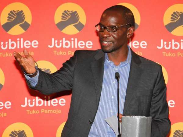 Jubilee Party National Election Board Chairman Andrew Msangi gives an update of the nomination process at the Party headquarters on April 25, 2017. /JACK OWUOR