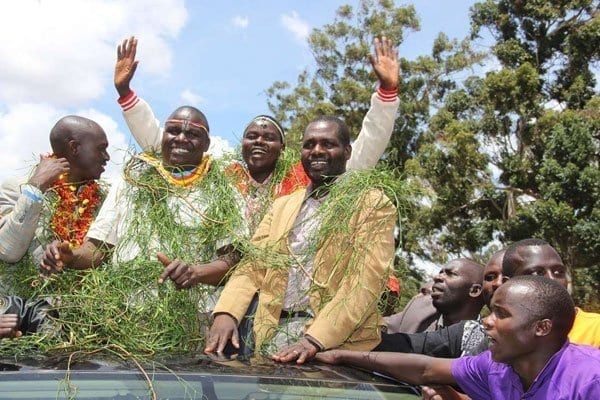 Mr William Chepkut (centre), who won the Jubilee ticket for Ainabkoi parliamentary seat, celebrates with supporters on April 26, 2017. PHOTO | JARED NYATAYA | NATION MEDIA GROUP