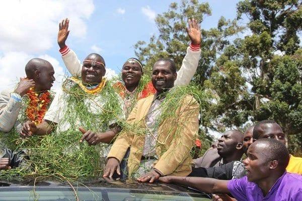 Mr William Chepkut (centre), who won the Jubilee ticket for Ainabkoi parliamentary seat, celebrates with supporters on April 26, 2017. PHOTO | JARED NYATAYA | NATION MEDIA GROUP