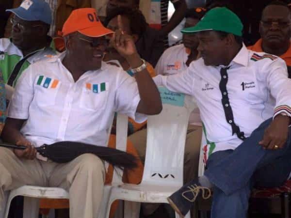 Machakos county senator Johnston Muthama with his wiper party leader Kalonzo Musyoka at a cord rally at the Kamkunji ground on April 23.Photo/Enos Teche.