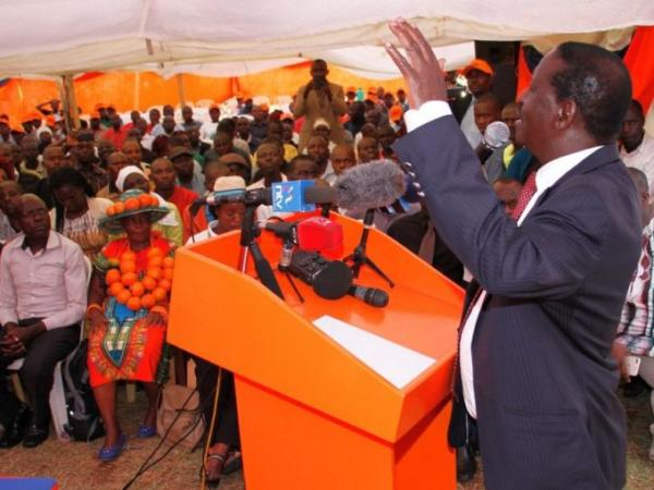 ODM leader Raila Odinga addresses a youth meeting at the party's Orange House headquarters in Nairobi, March 28, 2017. /JACK OWUOR