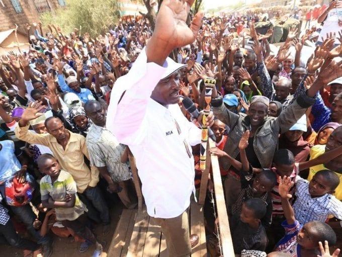 Wiper leader Kalonzo Musyoka addresses residents in Kinna, Isiolo county, March 4, 2017. /DENNIS KAVISU