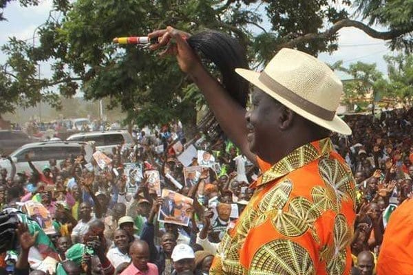 The National Super Alliance presidential candidate Raila Odinga (left) and Moses Wetang'ula