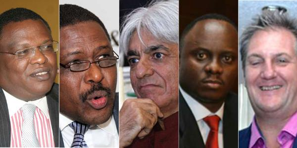 From left: Paul Wanderi Ndung'u, Mobicom Group chairman, Gitahi Gachahi, Ernst & Young chief executive, Bharat Thakrar (Scangroup CEO), Philip Muema, former KPMG partner, and Richard Bell, co-founder Wananchi Group. FILE PHOTOS | NMG