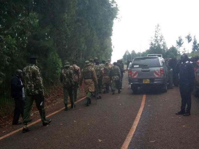 Police officers outside DP William Ruto's home in Sugoi, Eldoret, following an attack on July 29, 2017. /MATHEWS NDANYI
