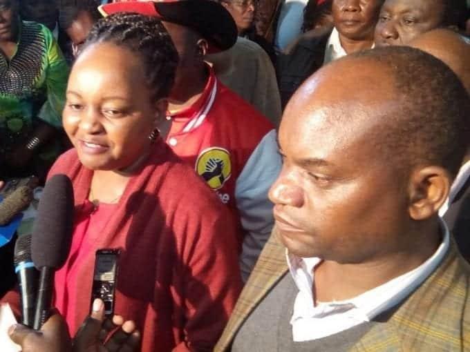 Kirinyaga governor elect Anne Waiguru and deputy governor-elect Peter Ndambiri address the media after she was declared the winner of Kirinyaga seat, August 11, 2017. /GEOFFREY KIBISU