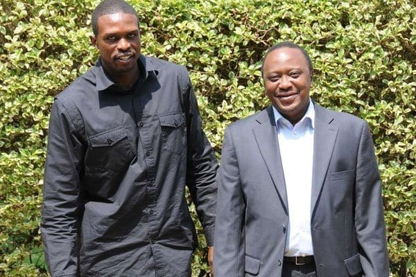 NBA star Luol Deng (left) poses for photos with the then Kenyan Deputy Prime Minister Uhuru Kenyatta on July 5, 2011 in Nairobi. Deng now plays for Los Angeles Lakers while Kenyatta is the current President of Kenya. PHOTO   FILE  