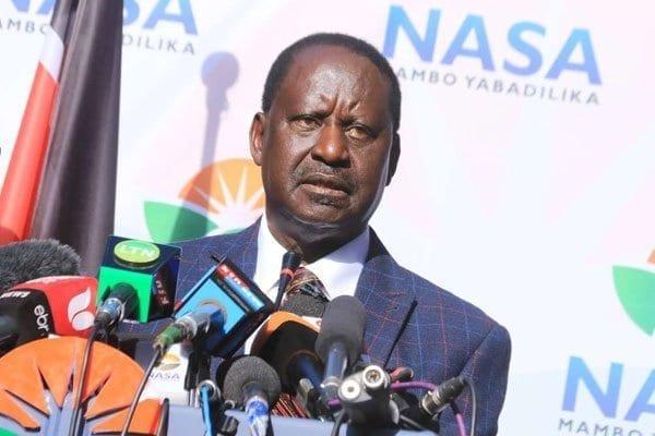 Nasa leader Raila Odinga addresses the media at Okoa Kenya