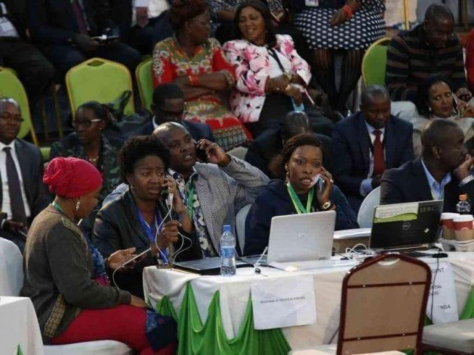The NASA team at Bomas of Kenya moments before president Uhuru Kenyatta was declared winner of the  2017 presidential election, August 14, 2017. /MONICAH MWANGI