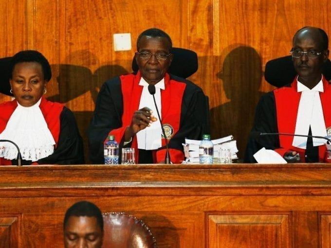 Chief Justice and Supreme Court president David Maraga with colleagues Philomena Mwilu and Mohamed Ibrahim at the pre-trial conference for NASA's petition on the presidential election, August 26, 2017. /JACK OWUOR