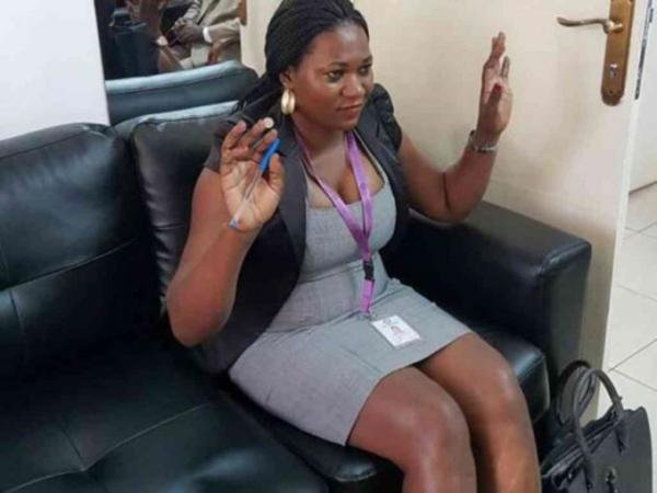 Rosemary Namuwanga, a Ugandan court clerk and interpreter at Kasangati Magistrate's Court in Wakiso, who has bneen suspended for indecent dressing. /COURTESY/VIA DAILY MONITOR