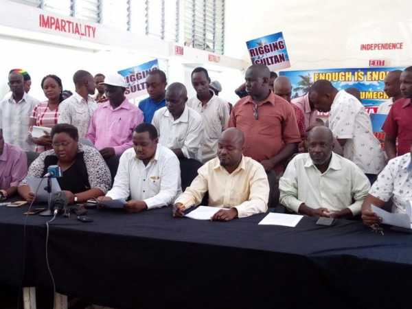 Wiper poll losers during a press conference held September, Friday 29, 2017 at Komblenz Hall, Mombasa. /ERNEST CORNEL