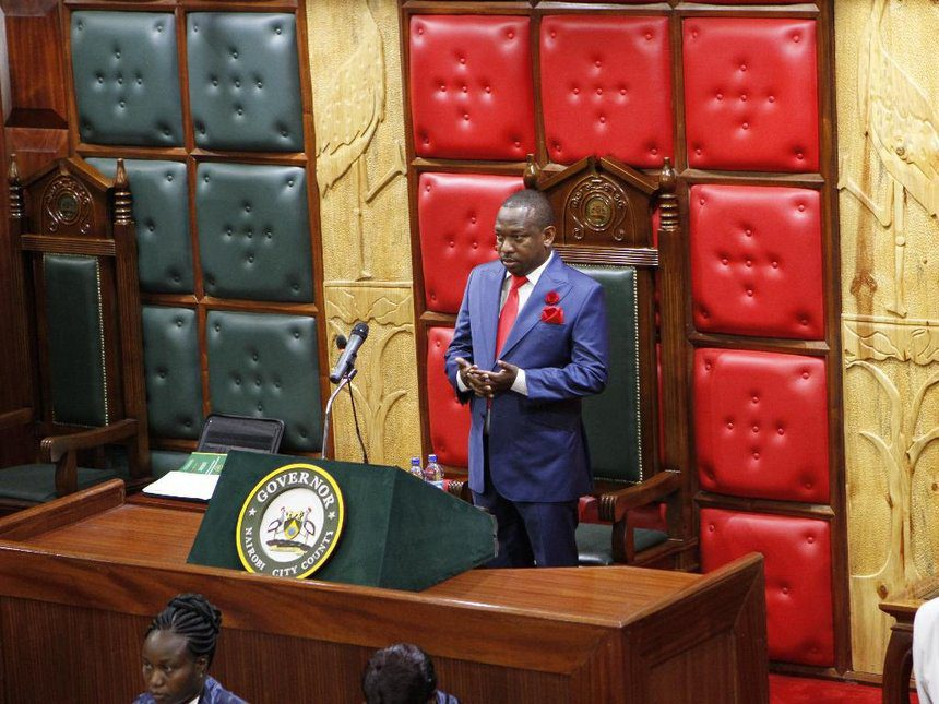 Nairobi governor Mike Sonko when he officially opened the assembly yesterday../MONICAH MWANGI