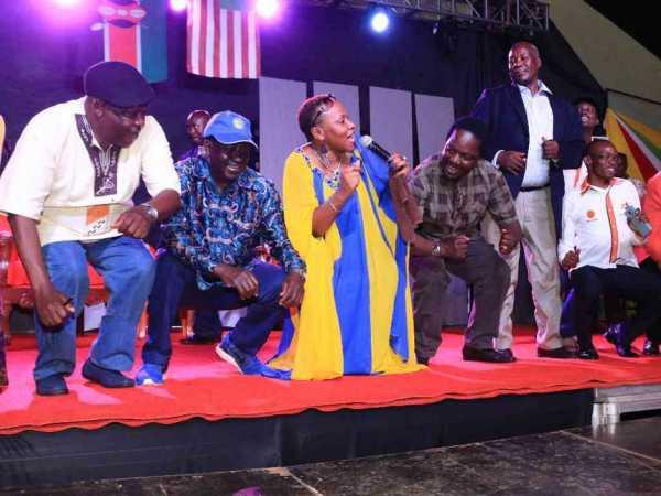 Immediate former West Mugirango MP James Gesami (standing) with NASA leaders including Raila Odinga, Governor John Nyagarama (left) and former Kitutu Masaba MP Timothy Bosire during a past function in Nyamira town. /ANGWENYI GICHANA