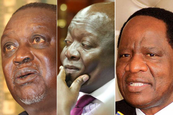 ODM bigwigs who were defeated in the just concluded party primaries in Nyanza from left: Oburu Oginga (Bondo), Jakoyo Midiwo (gem) and Dalmas Otieno (Rongo). PHOTOS | FILE | NATION MEDIA GROUP
