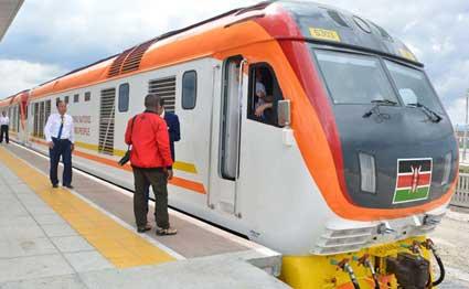 Image result for President Uhuru Kenyatta launches passenger train services at Miritini station, Mombasa
