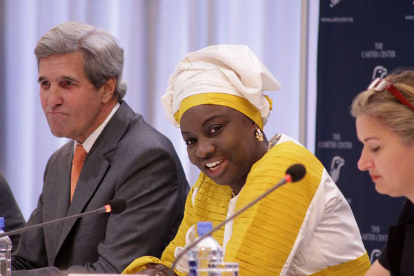 Carter Centre mission bosses John Kerry and Aminata Toure address the media at the Radisson Blu Hotel on August 10, 2017.