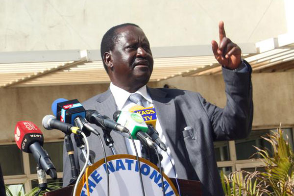 Nasa co-principal Raila Odinga