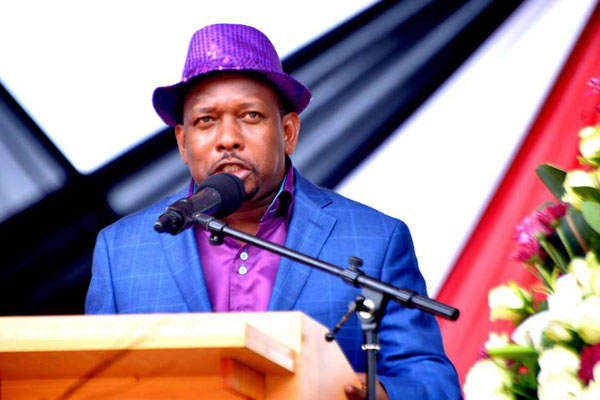 Nairobi Senator Mike Sonko speaks during Labour Day celebrations at Uhuru Park